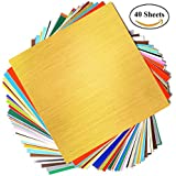 """GLOBAK Adhesive Backed Vinyl Sheets 12"""" x 12"""" 40 Sheets Assorted Colors (Glossy,Matt,Metallic and Brushed Metallic). Premium Quality Vinyl Sheets for Cricut and Other Cutters"""