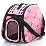 Foldable Pet Dog Cat Carrier Cage Collapsible Travel Kennel - Portable Pet Carrier Outdoor Shoulder Bag for Puppy Dog Cat Small Medium Large Animal (M, Pink)