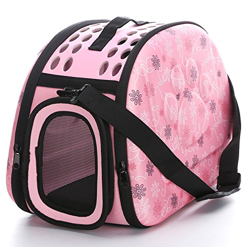 (Foldable Pet Cat Dog Carrier Cage Collapsible Travel Kennel - Portable Pet Carrier Outdoor Shoulder Bag for Small Animal Puppy Kitty (M, Pink))