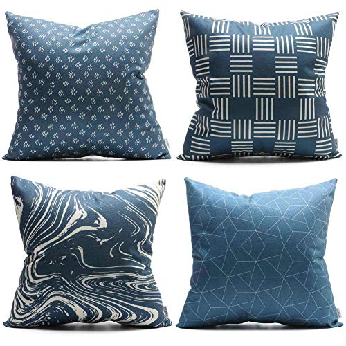 Blue Square Pillow - Throw Pillow Cushion Covers Pillowcases 18×18 Inch Set of 4, Dark Deep Navy Blue Dot Sky Check Diamond Patterned Durable Canvas Decorative Square Pillow Case