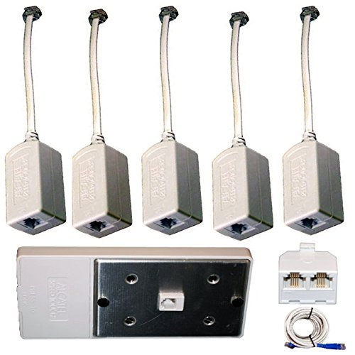 DSL Filter Kit - 5 Pack Inline DSL Phone Filters & Wall Filter & Splitter & Cable - Whole House DSL - Wall Rj11 Mount