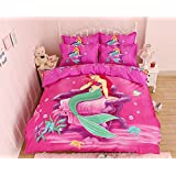 Home Textile Cartoon Pattern Bedding Students Duvet Cover Set, Kids Bed Sheets Boys Girls (Mermaid, Twin Size 4Pcs)