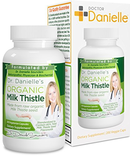 Dr. Danielle Organic Milk Thistle 30:1 Extract, Standardized to Contain 80% Total Flavonoids, Natural Silymarin Organic Silybum marianum product from Doctor Danielle, 200 count bottle For Sale