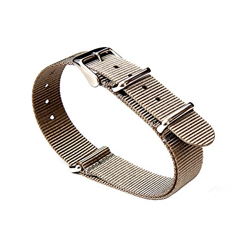 Changeable Buckle (Watch Bands NATO Straps Replacement Watchbands Ballistic Nylon Straps with Stainless Steel Buckle(20mm, Smoke)