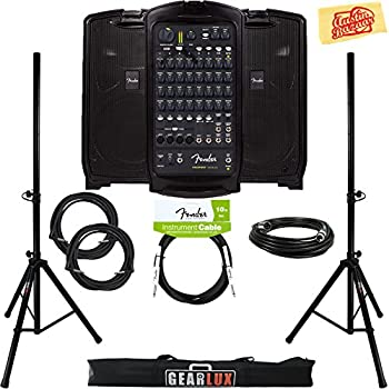 Fender Passport Venue Portable PA System Bundle with Speaker Stands, XLR Cable, Instrument Cable, and Austin Bazaar Polishing Cloth