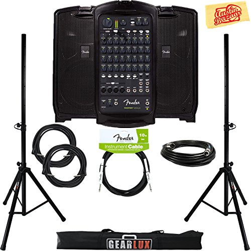 fender passport venue pa system bundle with speaker stands xlr cable instrument cable and. Black Bedroom Furniture Sets. Home Design Ideas