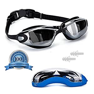 Pro Anti-Fog Swimming Goggles by VivoPro Sports | Flexible Silicone Frame & Gasket, UV Protection w/ Polycarbonate Mirrored Lenses, Anti-Fog Coating | for Women, Men, and Kids, Includes FREE Ear Plugs