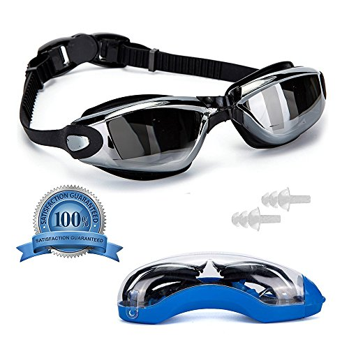 Pro Anti-Fog Swimming Goggles by VivoPro Sports | Flexible Silicone Frame & Gasket, UV Protection w/ Polycarbonate Mirrored Lenses, Anti-Fog Coating | for Women, Men, and Kids, Includes FREE Ear - Prescription Gogles