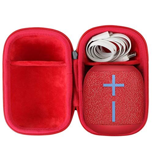 co2crea Hard Travel Case for Ultimate Ears UE Wonderboom 1/2 Portable Waterproof Bluetooth Speaker (Black Case + Inside Radical Red)