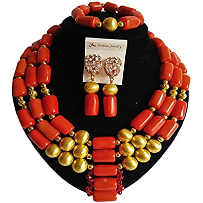 Hot laanc African Nigerian Coral Fashion Womens Bridal Wedding Jewelry Sets supplier