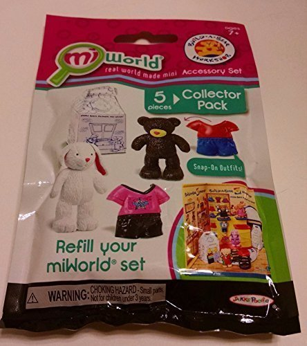 Miworld Build A Bear Workshop Accessory Set (5 Pc Collector Pack - 1 Lil Cub, 1 Cuddley Bunny, 1 Cub Condo and 2 Snap On Outfits)