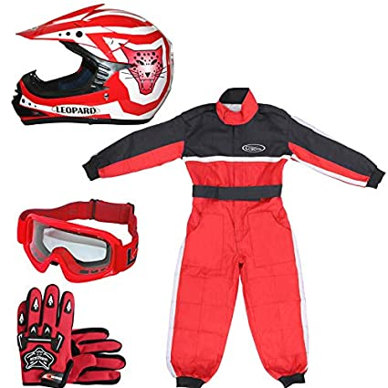 Leopard LEO-X17 Black Kids Motocross Helmet L(53-54cm) & Gloves L(7cm) & Goggles + Children Kids Motorbike Race Suit L(9-10Yrs) Touch Global Ltd