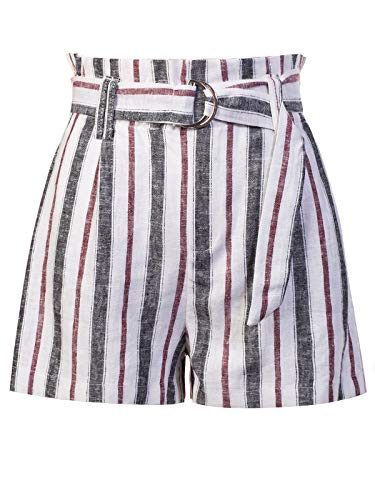 Design by Olivia Women's Casual Stripe Belted Linen Beach Shorts Black L ()