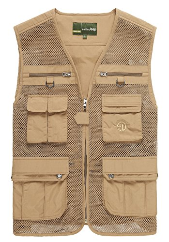 Casual Summer Men's Mesh Fly Fishing Vest,Men Fast Dry Mesh Vest, Sleeveless Jacket (Khaki, Asia L-----(US S))