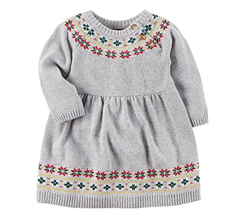 Carter's Baby Girls' Fair Isle Dress and Bloomers Set Gray 18 Months