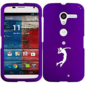 Motorola MOTO X Snap On 2 Piece Rubber Hard Case Cover Female Volleyball Player (Purple)