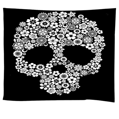 POPPAP White Black Skull Wall Decor Tapestry, Halloween Festive Ornaments Wall Art Pictures Digital Print Light Weight Fabric Hanging Blanket Flower Skull Hippie Print Background 78