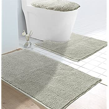 VDOMUS Soft Toilet Rug 3 Pieces Set, Non Slip Bathroom Rugs, U Shaped