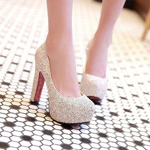 Charm Foot Womens Fashion Sequins Platform Pumps High Heels White 9fdBsN