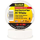 Scotch Vinyl Color Coding Electrical Tape 35, 3/4 in x 66 ft, White
