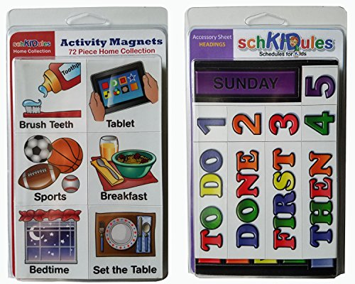 """SchKIDules Visual Schedules """"91 Pc Home Collection Combo Pack"""" w/72 Home-Themed Activity Magnets PLUS 19 Headings Magnets"""