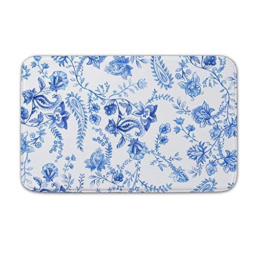 (Welkoom Door Mats Line Art Blue and White Porcelain Coral Velvet Shoes Scraper 20