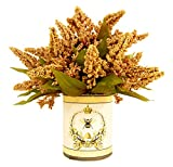 Creative Displays Golden Wheat in French-Themed Pot Faux Floral, Small, Gold