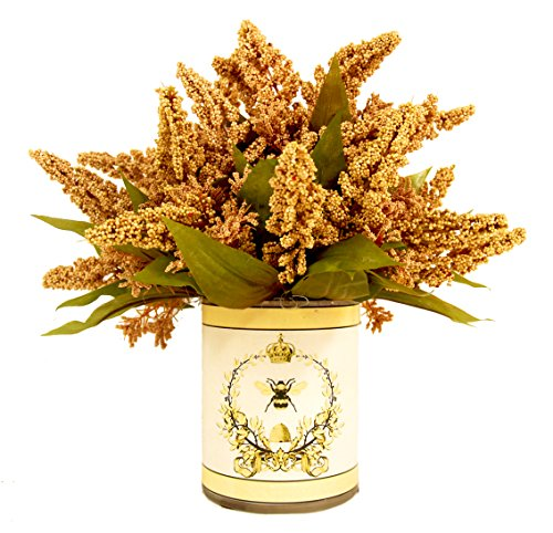Creative Displays Golden Wheat in French-Themed Pot Faux Floral, Small, Gold - Gold Wheat Design