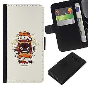 LECELL--Cuero de la tarjeta la carpeta del tirón Smartphone Slots Protección Holder For Samsung Galaxy A3 -- Resumen de la criatura --