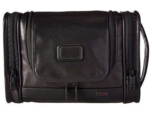 TUMI Alpha 2 Hanging Leather Travel Kit-Luggage Accessories Toiletry Bag for Men and Women, Black