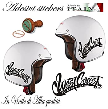 "Adhesivo para casco de moto Custom con mensaje ""West Coast Customs"", para"