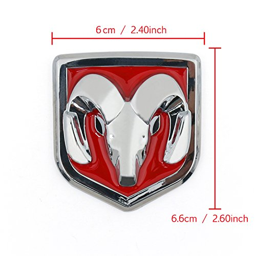 Areyourshop Head Grill Emblem Badge Sticker Decal Chromed Metal For Dodge Ram 6 x 6.6 CM(2.40 x 2.60 Inch), Red