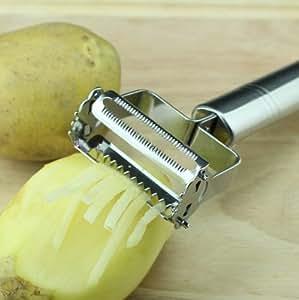 Stainless Steel Vegetable Fruit Potato Julienne Peeler Kitchen Garnishing Tool, Premium Zoodles Maker for Zucchini Noodles,sharp Professional Potato Peeler, Shredder, Cutter and Slicer in One