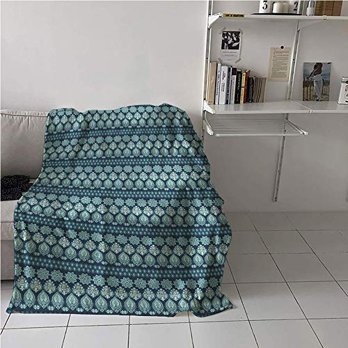 - Suchashome Aqua Paisley Casual Blanket,Abstract Oriental Floral Continuous Illustration,Oversized Travel Throw Cover Blanket,Warm All Season Blanket for 54
