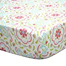 Gia Multi-Colored Damask Cotton Baby Girl Crib Fitted Sheet