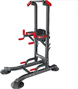 Fitness equipment Free Standing Dip Station Adjustable Multi Function Power Tower Pull-up Bars Stand Strength Training for Home Gym 330 Weight Capacity (Size : B)