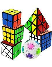 EASEHOME Zauberwürfel 6 Pack Speed Cube Set Pyraminx + 2x2x2 + 3x3x3 + 4x4x4 + Magische Regenbogenball + Fenghuolun Magic Puzzle Cubes Zauber Würfel PVC Aufkleber für Kinder und Erwachsene