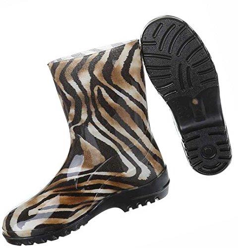 Damen Schuhe Stiefel Regenstiefel Mit Muster Gummi Braun