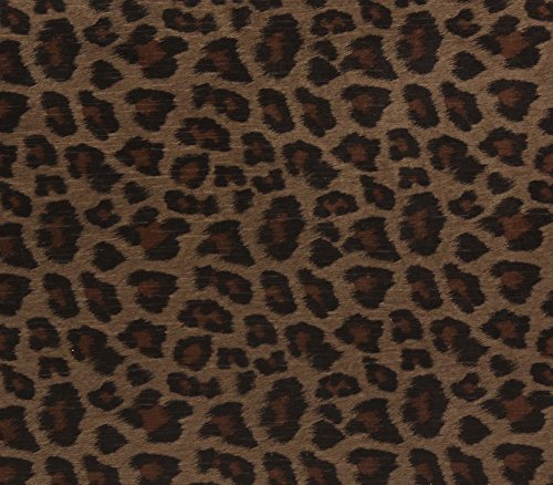 - Chenille Velvet Upholstery Drapery Fabric Brown Leopard Panthera Toffee / 54