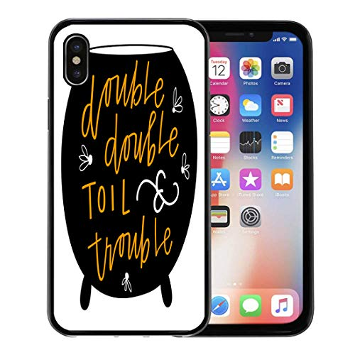 Semtomn Phone Case for Apple iPhone Xs case,Orange Black Double Toil and Trouble Blackpot Cauldron Cursive Drawing for iPhone X Case,Rubber Border Protective Case,Black