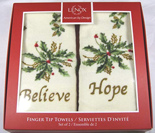 (Lenox American By Design Set of 2 Holiday Christmas Finger Tip Towels Hope and Believe)