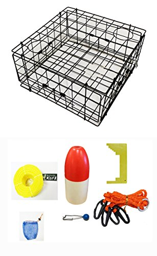 KUFA Vinyl Coated Crab Trap Accessory Kit (100' Poly Rope with Line Weight, Clipper, Bait Bag & 11