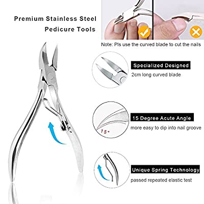 Upgraded 6Pcs/set Ingrown Toenail Tools Kit, Premium Nail Treatment Foot Tool, Ingrown Toenail Removal Correction Clippers, Surgery Grade Ingrown Toe Nail File and Lifter, Professional Pedicure Tools