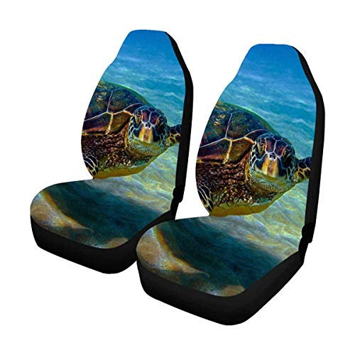 INTERESTPRINT Hawaiian Green Sea Turtle Cruises in The Warm Waters Universal Front Seat Covers for Cars (Cruise Time Car Seat Cover)