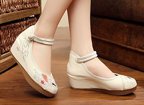 Shoes Fashion Prom AvaCostume Wedge Embroidery Beige Womens Sandals Dress qwT0RgO