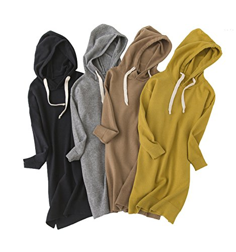 R.G Womens Loose Fit Pullover Hoodie Oversized Sweater Dress Knit Long Top for Women