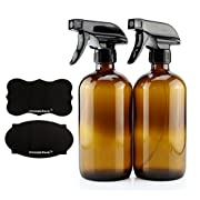16-Ounce Amber Glass Spray Bottles w/Reusable Chalk Labels (2 Pack), Heavy Duty Mist & Stream 3-Setting Sprayer; Great for Essential Oils