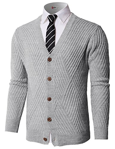 (H2H Mens Slim Fit Light Weight V-Neck Pullover Sweater Gray US L/Asia L (KMOCAL0176))