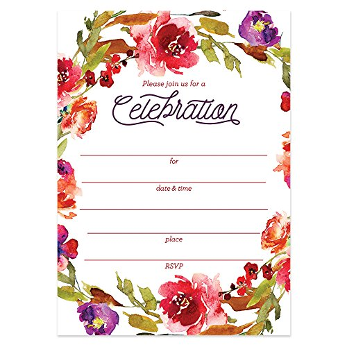 - Rustic Fall Floral Invitations with Envelopes (Pack of 25) Any Occasion Large 5x7
