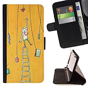 For Samsung Galaxy E5 E500 Case , Pintura del arte del gato amarillo- la tarjeta de Crédito Slots PU Funda de cuero Monedero caso cubierta de piel